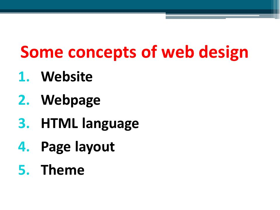Some concepts of web design
