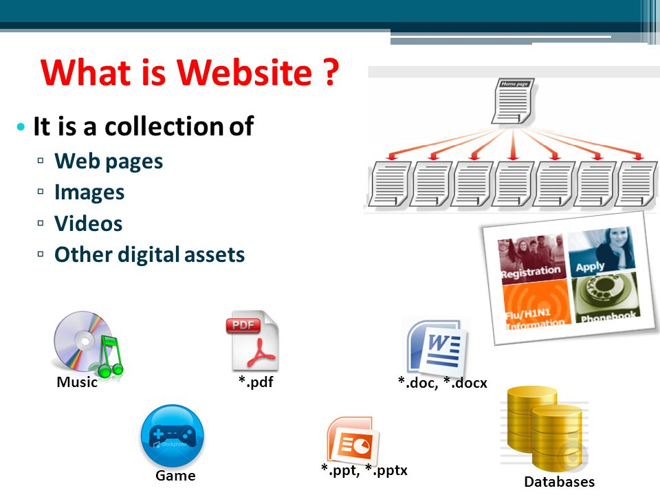 What is Website It is a collection of Web pages Images Videos