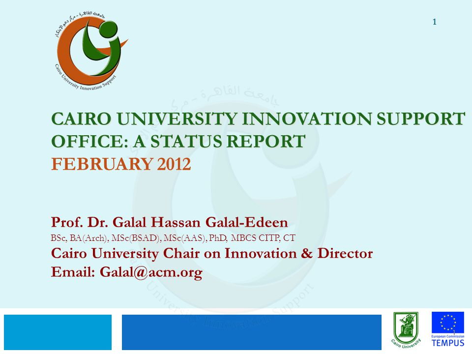 Cairo University Innovation Support Office: A STATUS Report February 2012