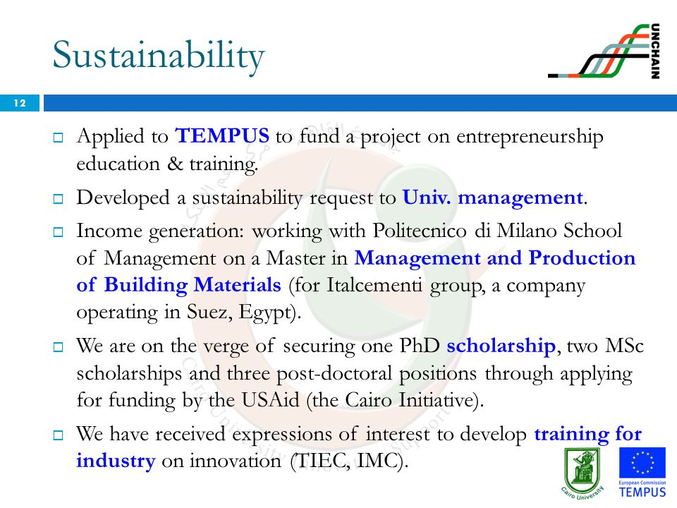 Sustainability Applied to TEMPUS to fund a project on entrepreneurship education & training.
