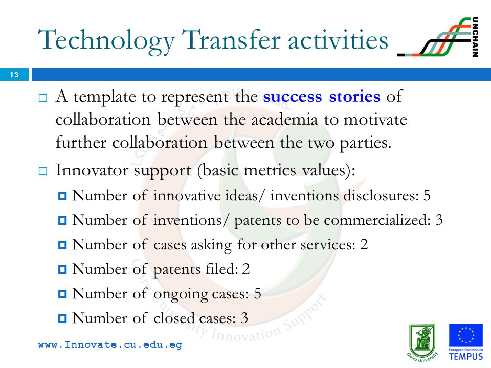 Technology Transfer activities