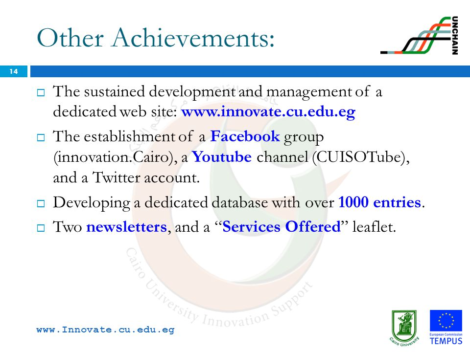 Other Achievements: The sustained development and management of a dedicated web site: www.innovate.cu.edu.eg.