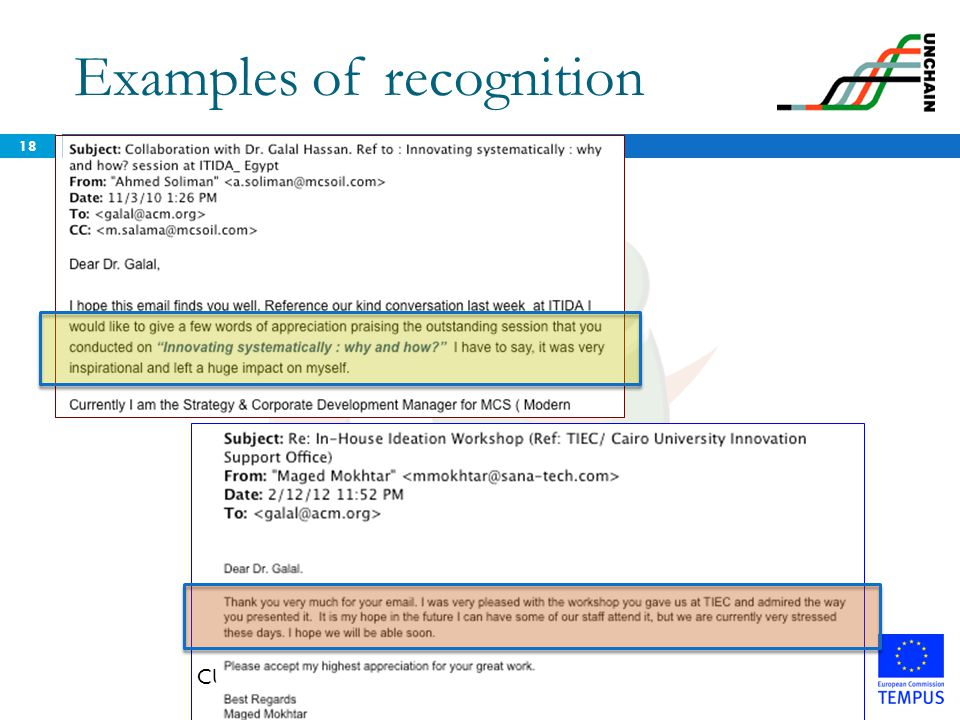 Examples of recognition