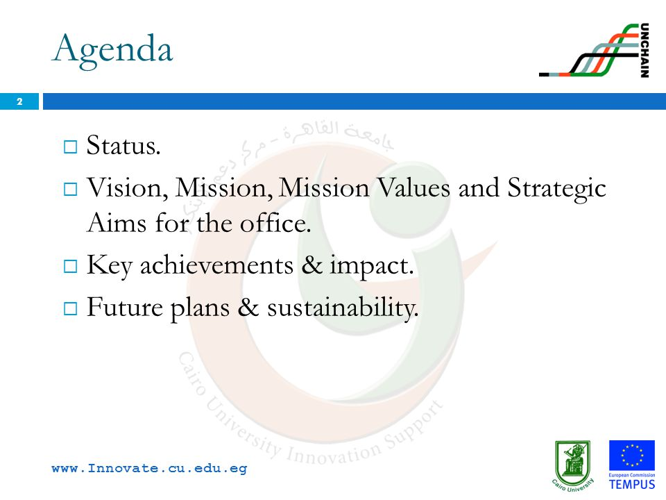 Agenda Status. Vision, Mission, Mission Values and Strategic Aims for the office. Key achievements & impact.