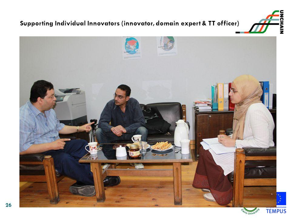 Supporting Individual Innovators (innovator, domain expert & TT officer)
