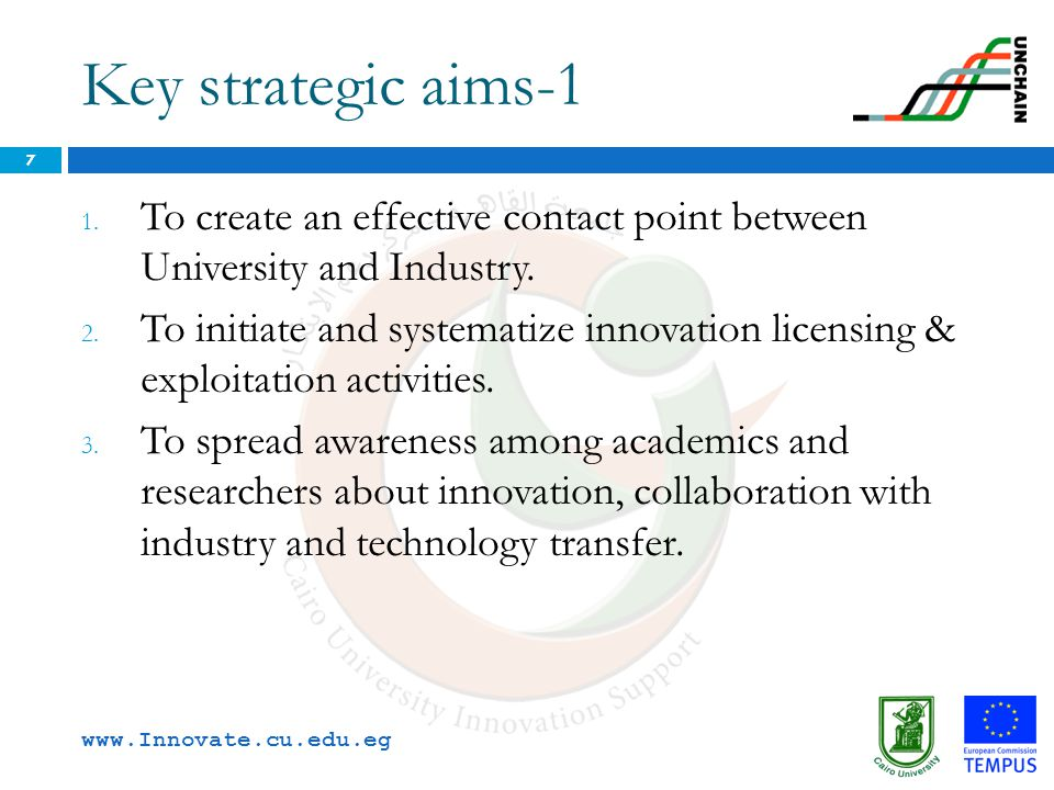 Key strategic aims-1 To create an effective contact point between University and Industry.