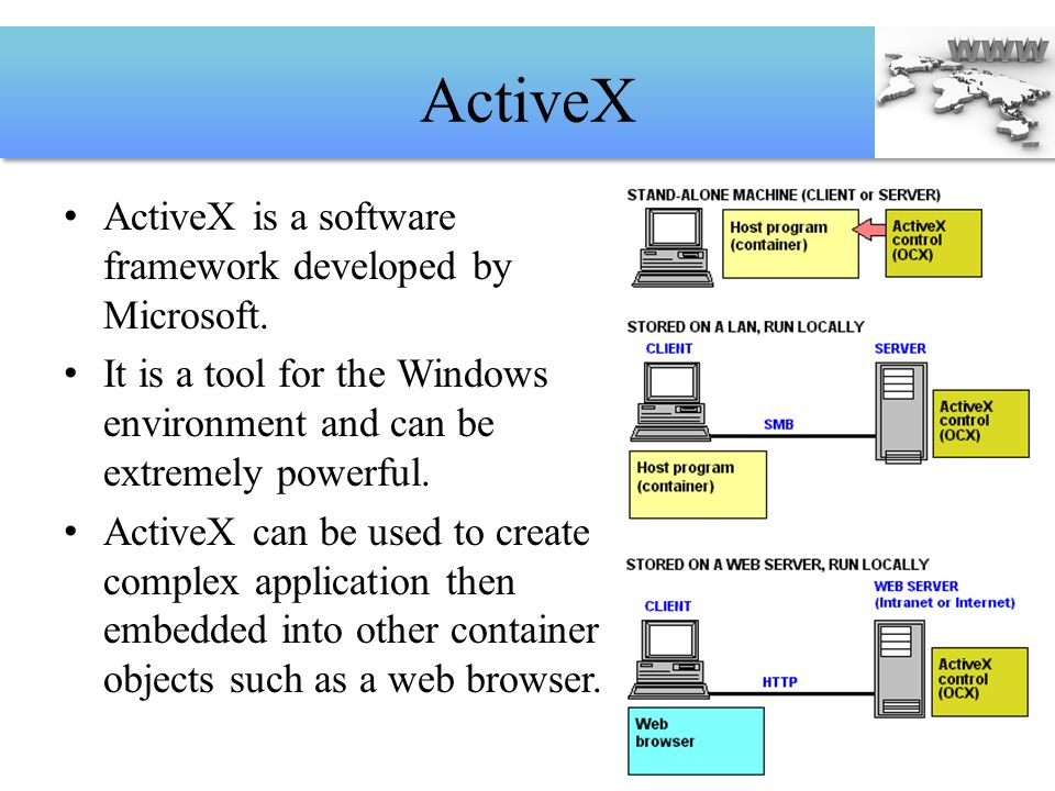 ActiveX ActiveX is a software framework developed by Microsoft.