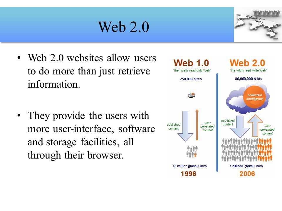 Web 2.0 Web 2.0 websites allow users to do more than just retrieve information.