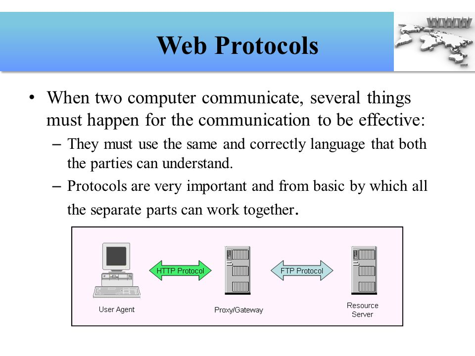 Web Protocols When two computer communicate, several things must happen for the communication to be effective: