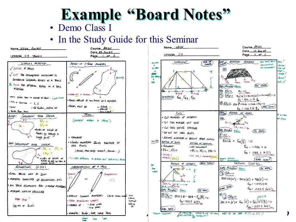 Example Board Notes Demo Class I In the Study Guide for this Seminar