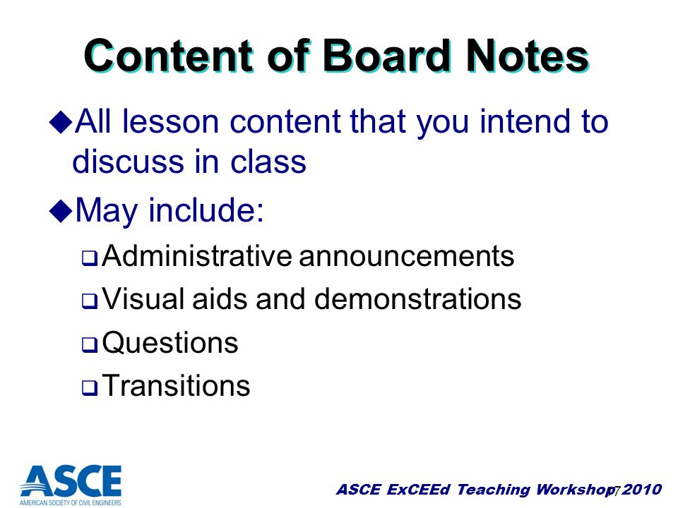Content of Board Notes All lesson content that you intend to discuss in class. May include: Administrative announcements.