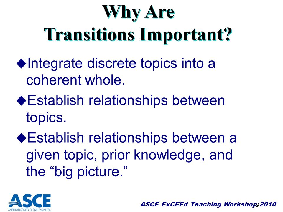 Why Are Transitions Important