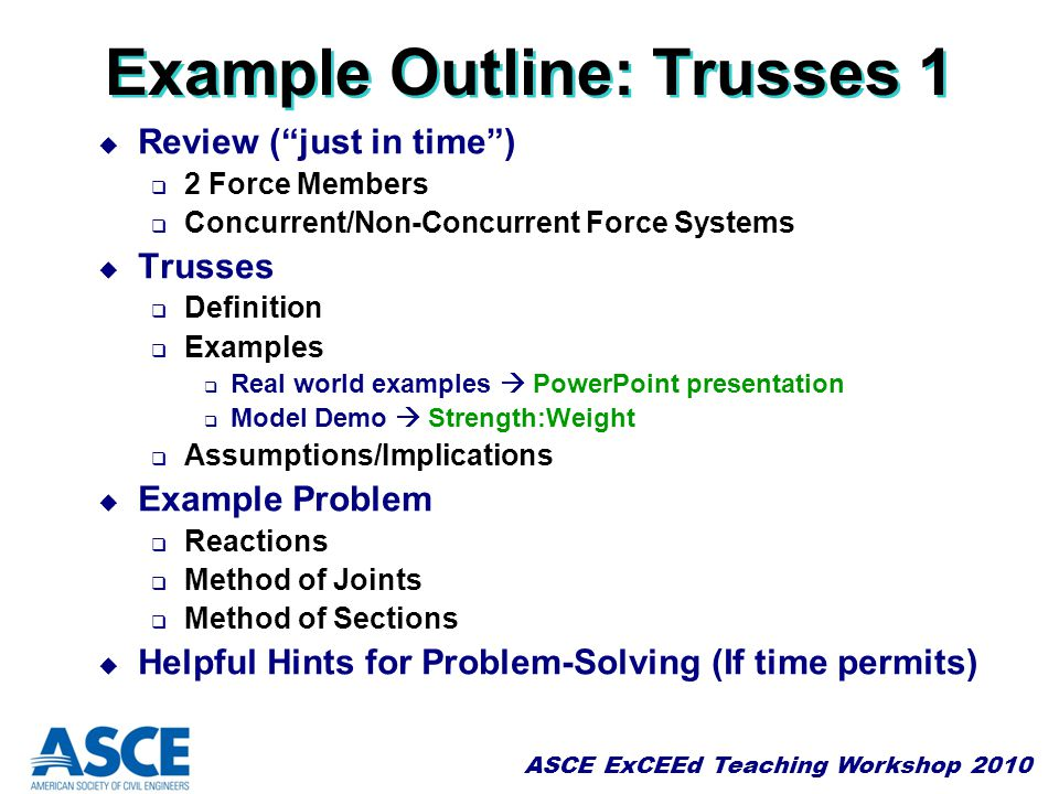 Example Outline: Trusses 1