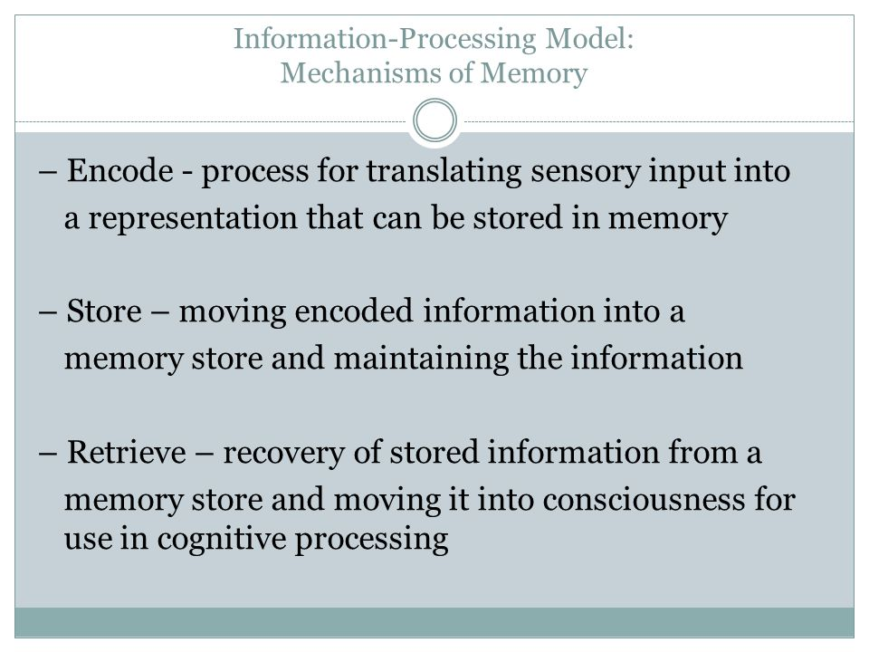 Information-Processing Model: Mechanisms of Memory
