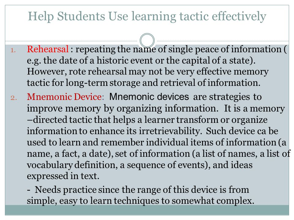 Help Students Use learning tactic effectively