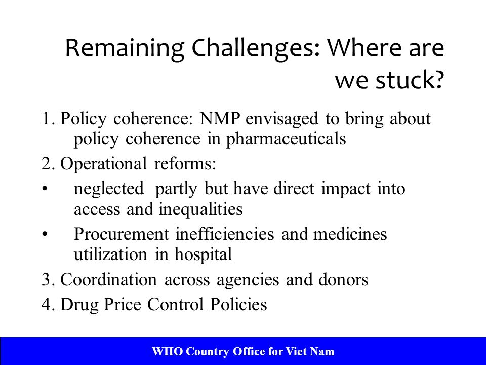 Remaining Challenges: Where are we stuck