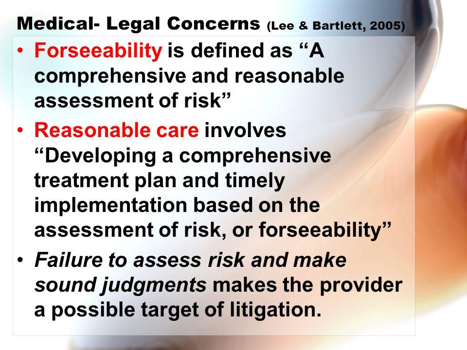 Medical- Legal Concerns (Lee & Bartlett, 2005)