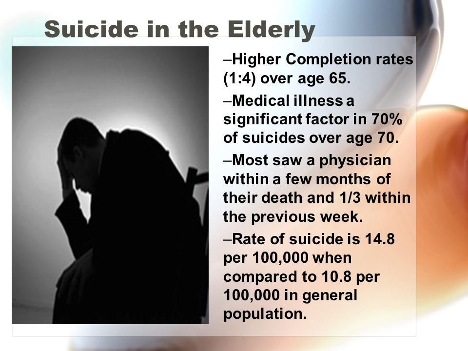 Suicide in the Elderly Higher Completion rates (1:4) over age 65.