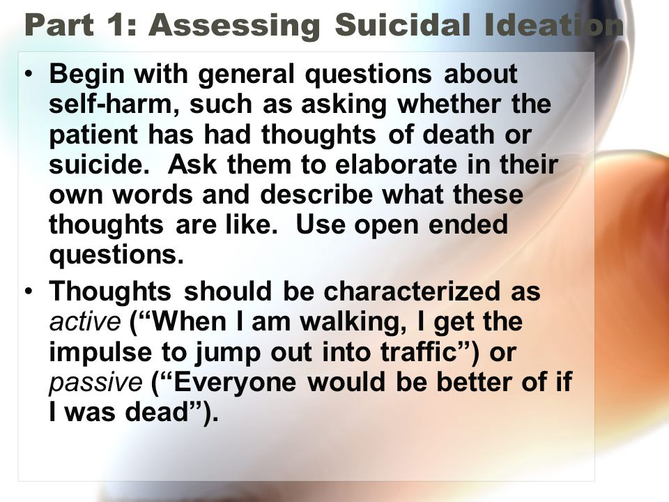 an overview of the suicidal thoughts 6 apa practice guidelines guide to using this practice guideline practice guideline for the assessment and treatment of patients with suicidal behaviors consists of three parts (parts a, b, and c) and many sections, not all of which will be equally useful for.