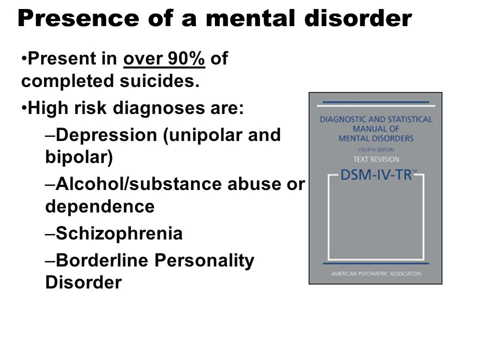 Presence of a mental disorder