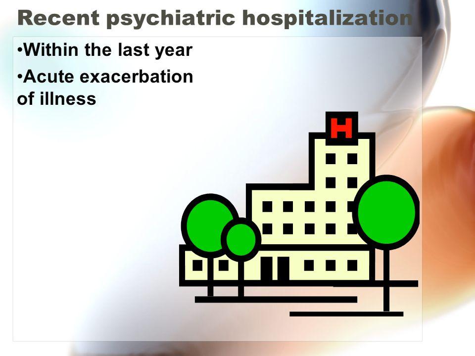Recent psychiatric hospitalization