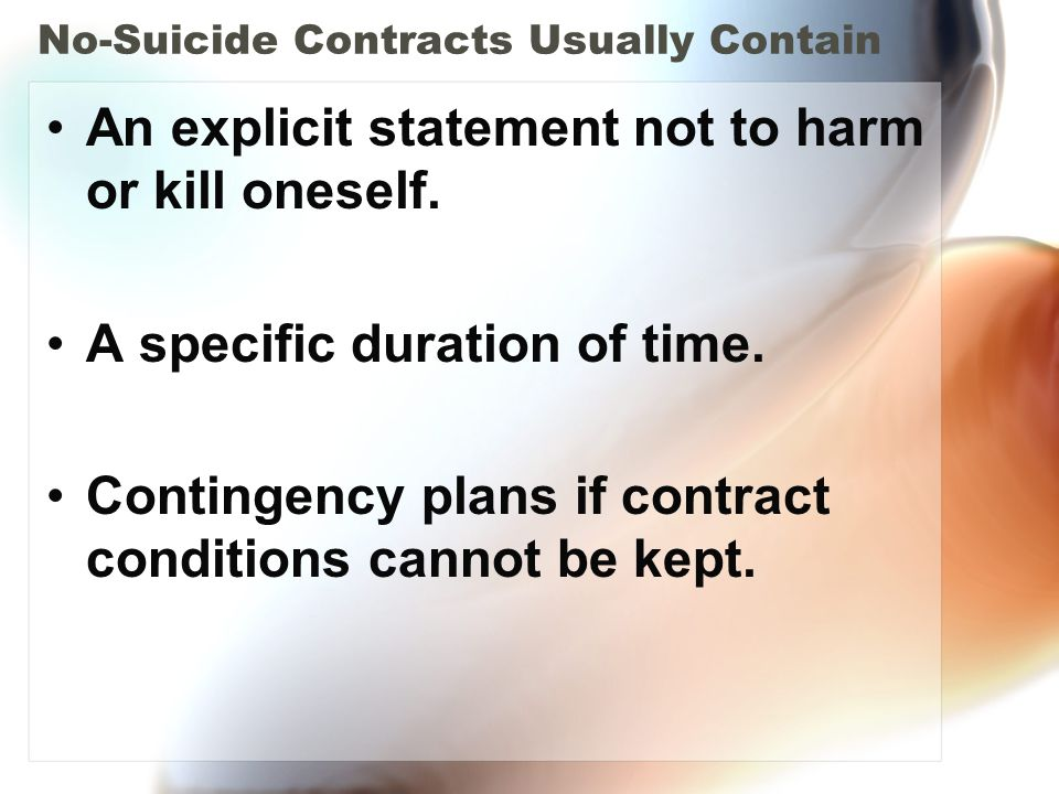 No-Suicide Contracts Usually Contain