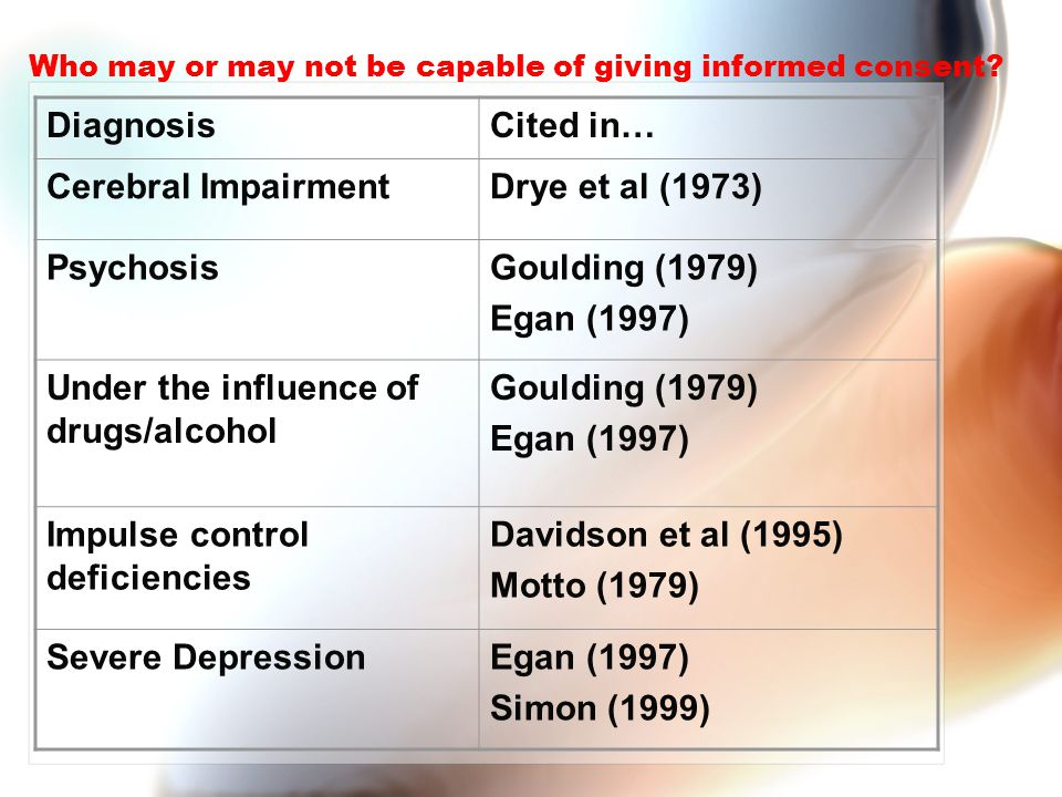 Who may or may not be capable of giving informed consent