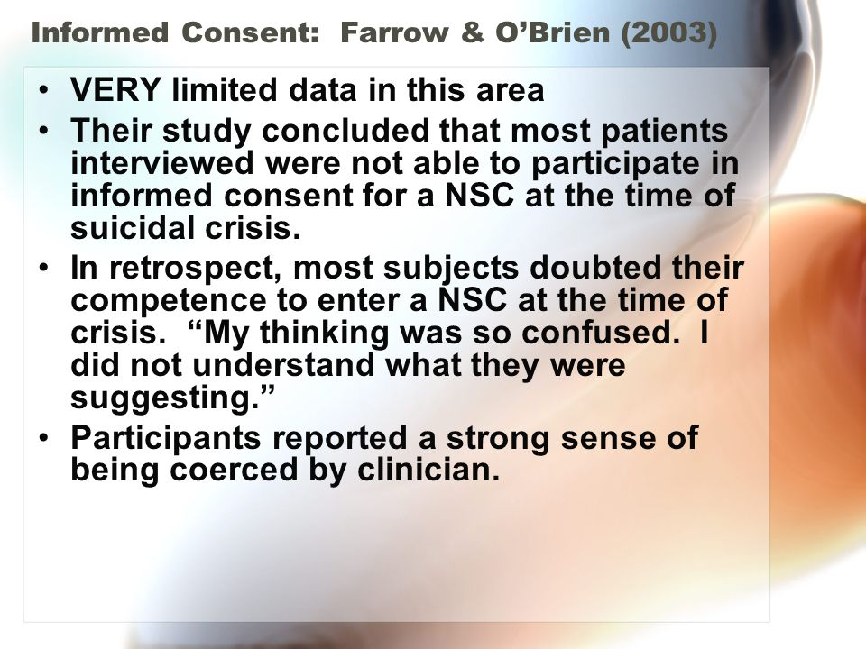 Informed Consent: Farrow & O'Brien (2003)
