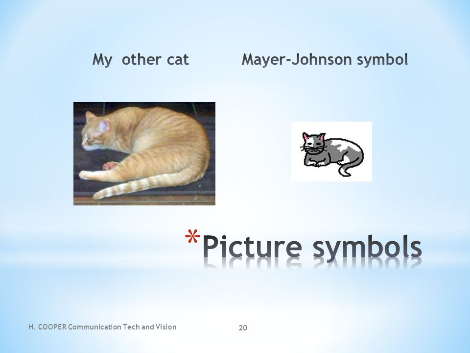 Picture symbols My other cat Mayer-Johnson symbol