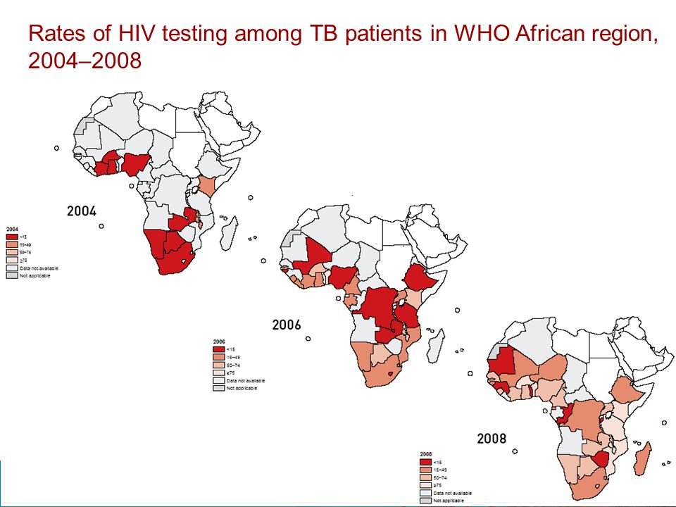 Rates of HIV testing among TB patients in WHO African region, 2004–2008