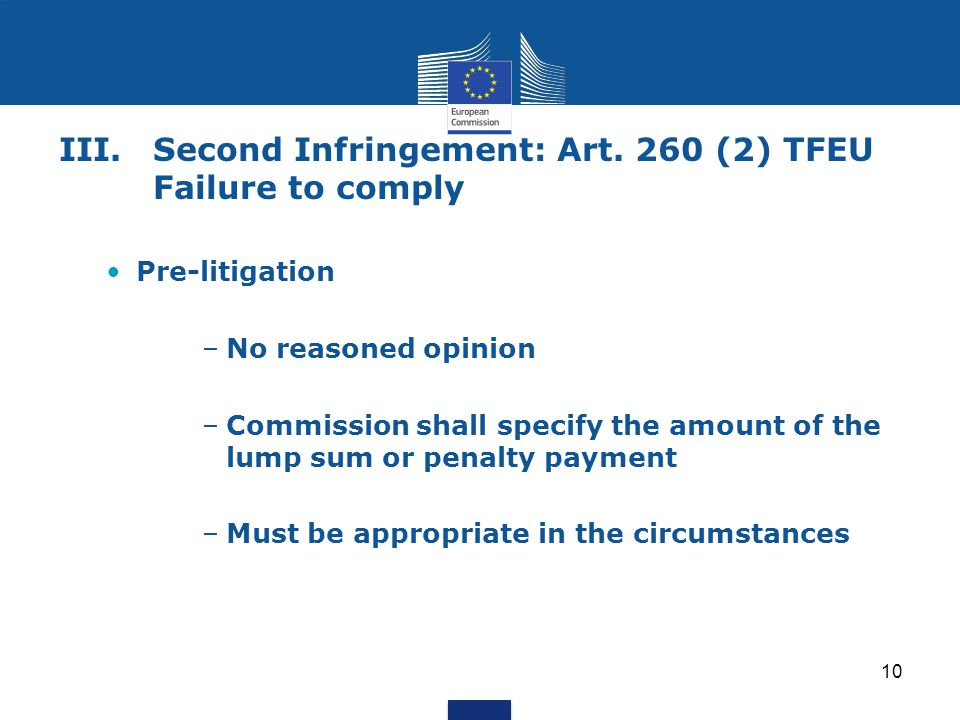 III. Second Infringement: Art. 260 (2) TFEU Failure to comply
