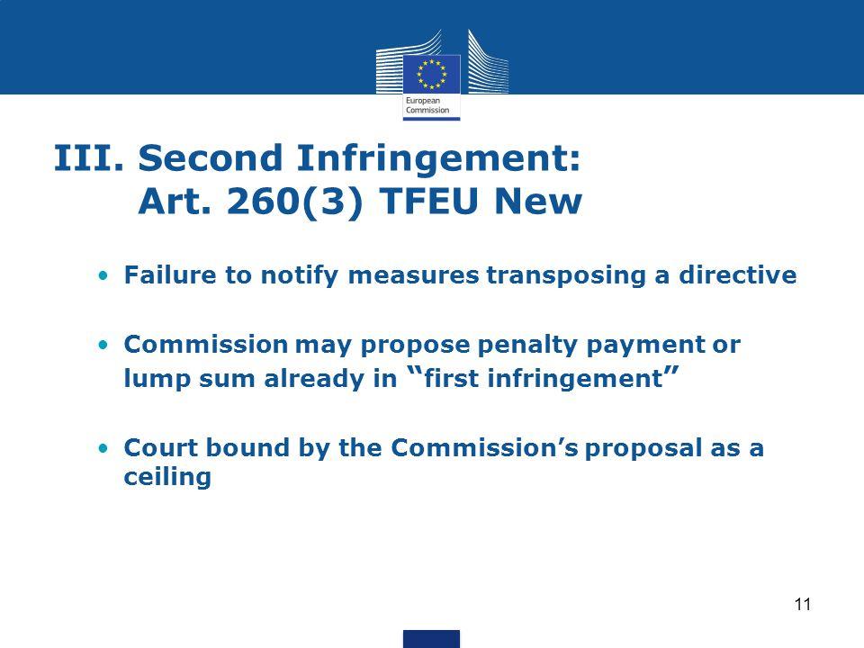 III. Second Infringement: Art. 260(3) TFEU New