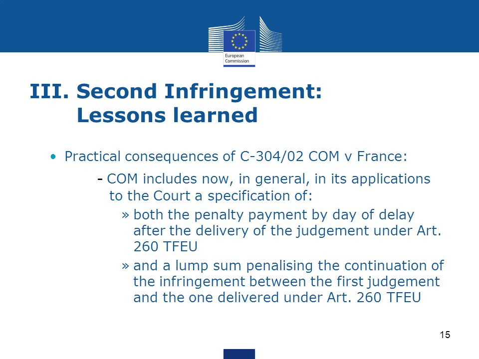 III. Second Infringement: Lessons learned
