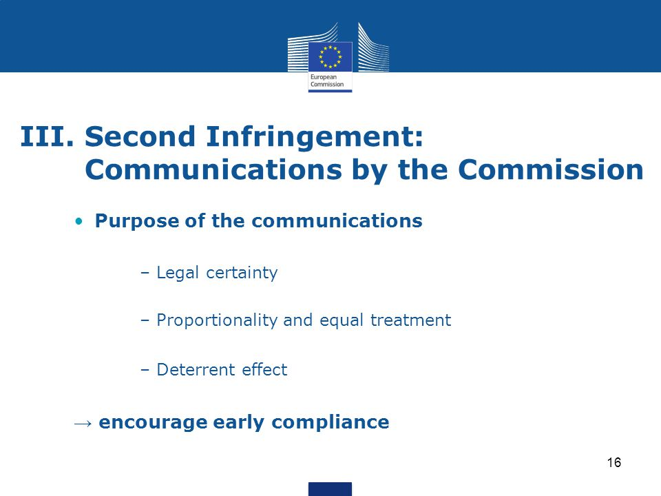 III. Second Infringement: Communications by the Commission