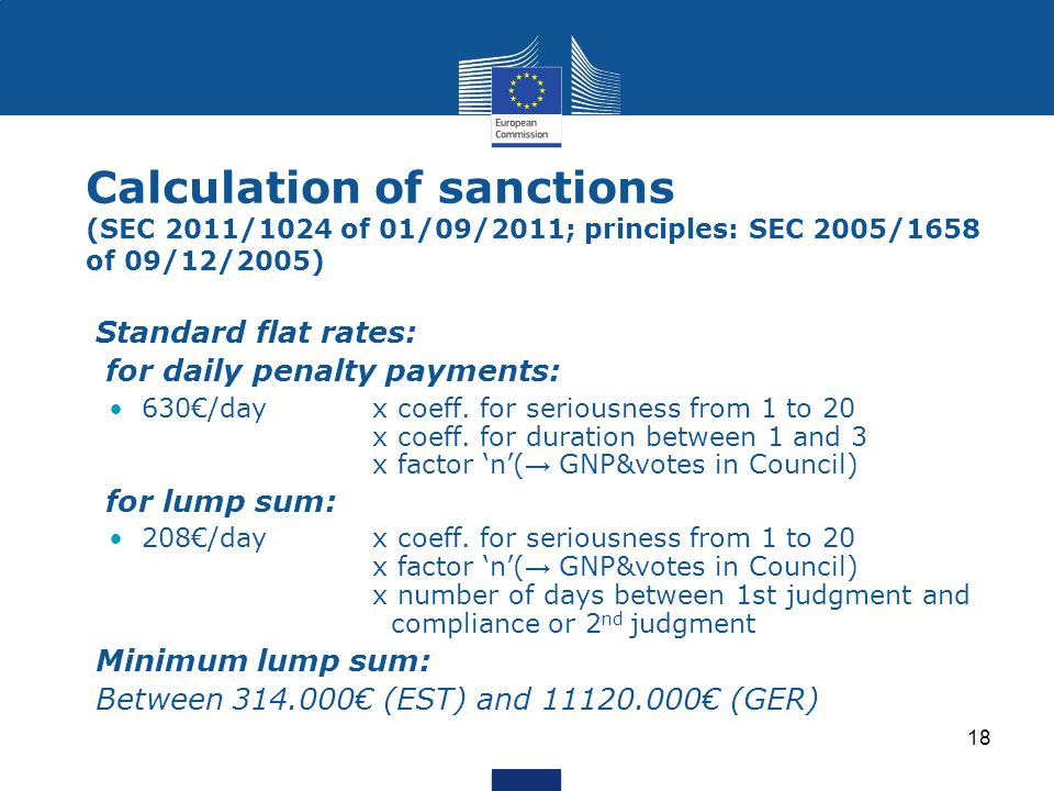 Calculation of sanctions (SEC 2011/1024 of 01/09/2011; principles: SEC 2005/1658 of 09/12/2005)