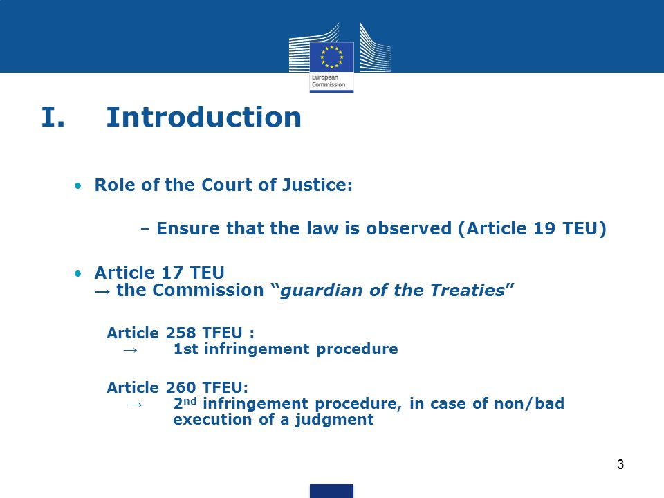 I. Introduction Role of the Court of Justice: