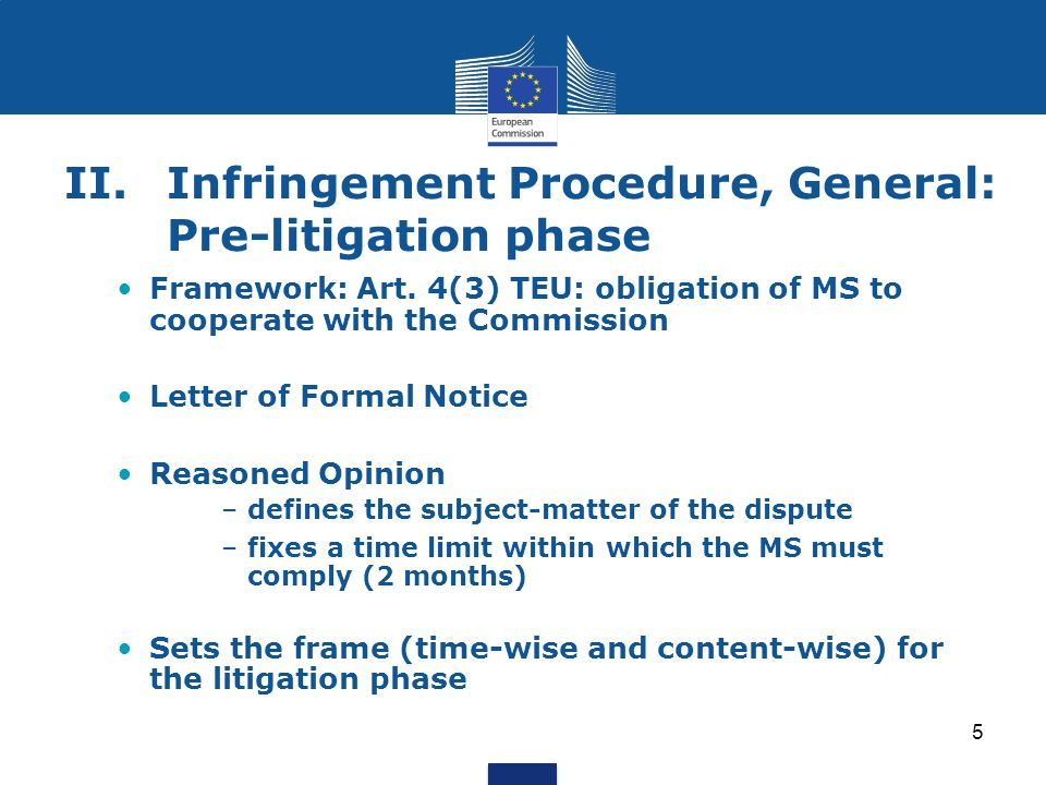 II. Infringement Procedure, General: Pre-litigation phase