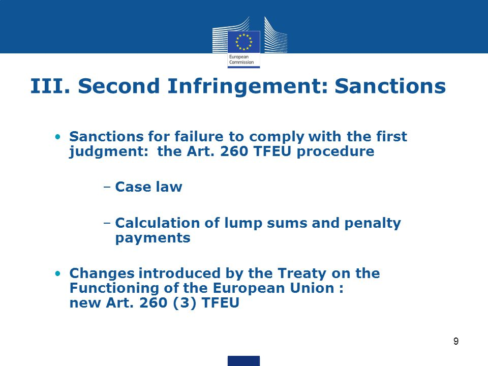 III. Second Infringement: Sanctions