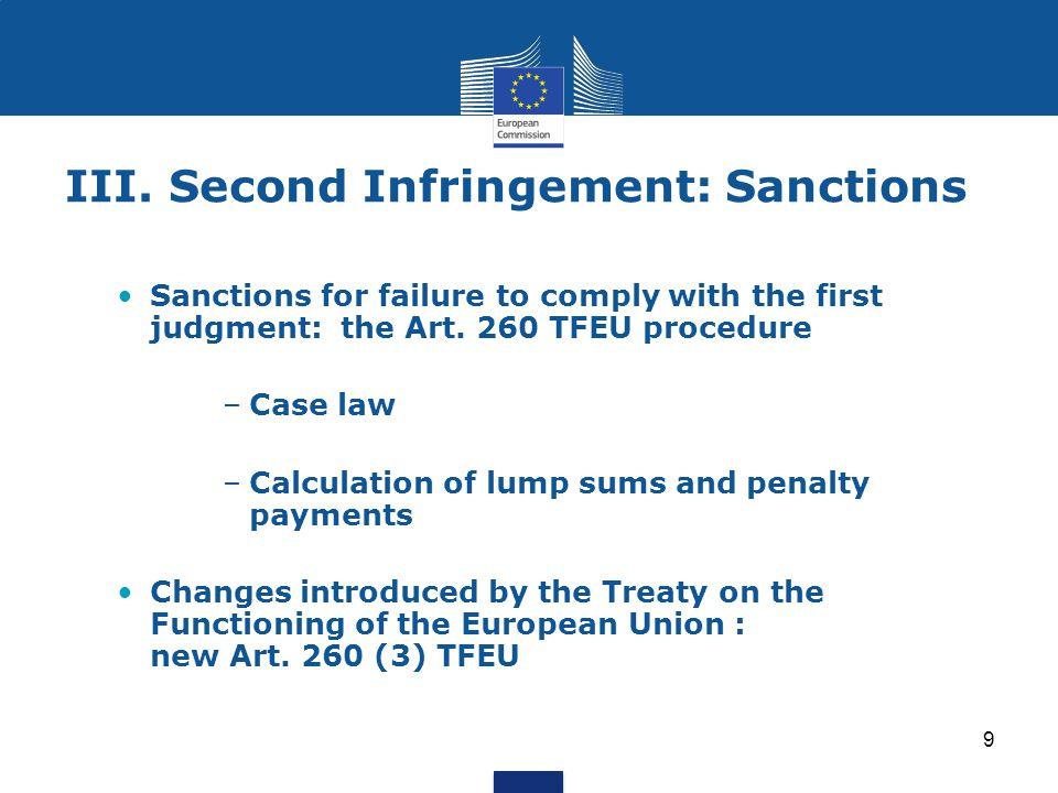 III. Second Infringement: Sanctions
