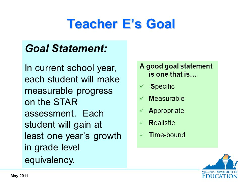 Teacher E's Goal Goal Statement:
