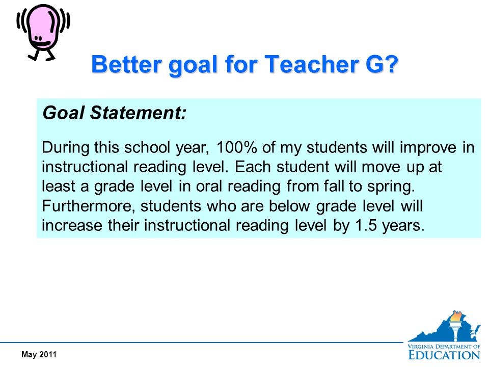 Better goal for Teacher G