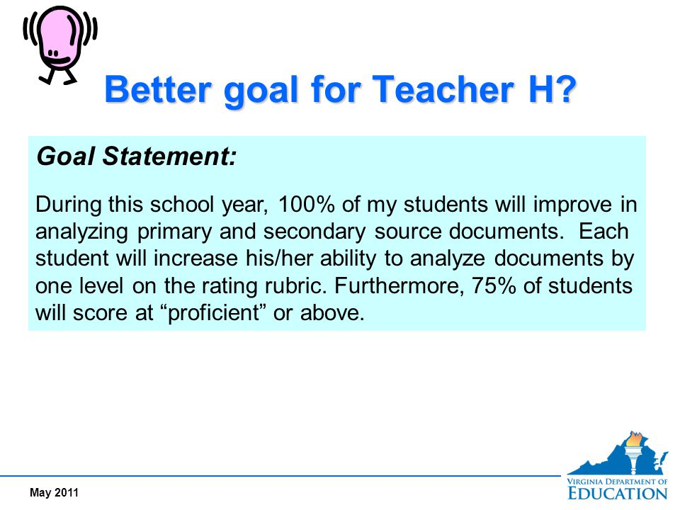 Better goal for Teacher H