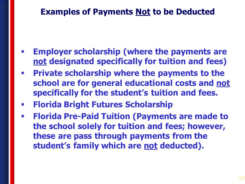 Examples of Payments Not to be Deducted