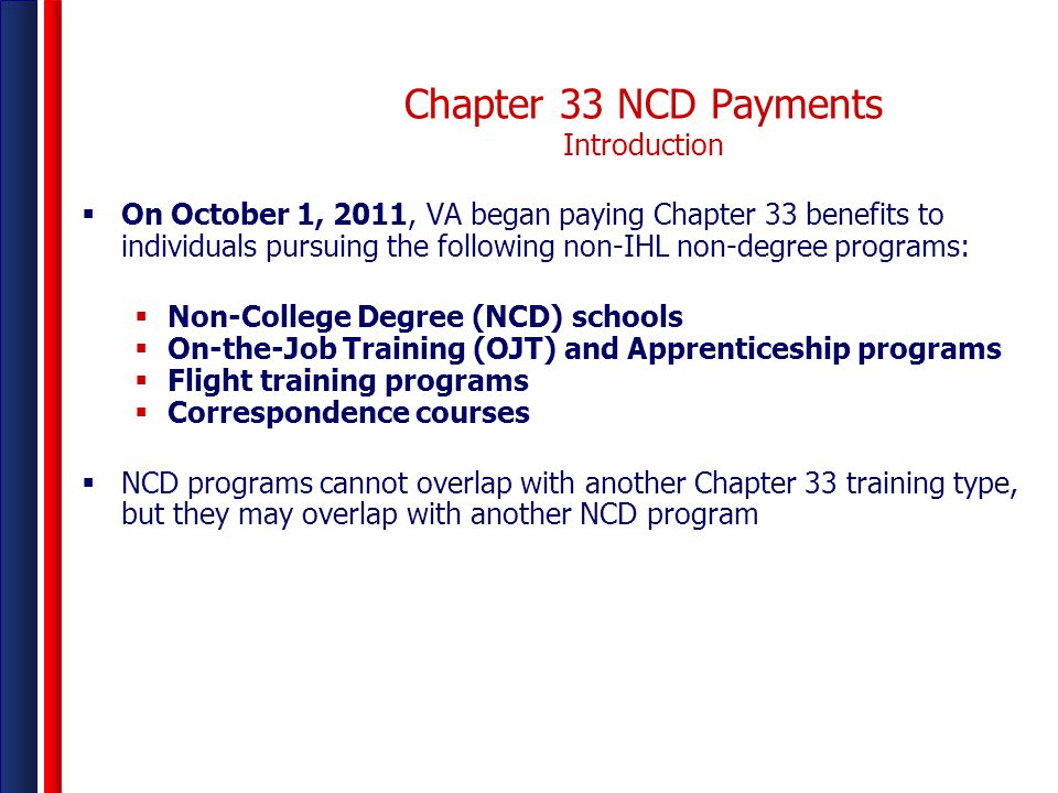 Chapter 33 NCD Payments Introduction