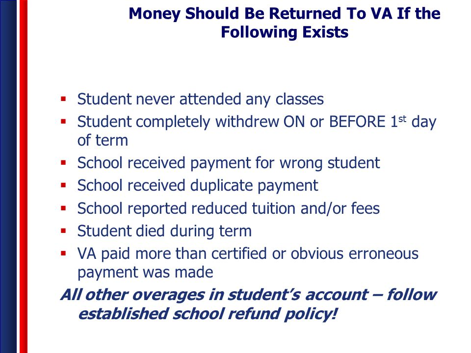 Money Should Be Returned To VA If the Following Exists
