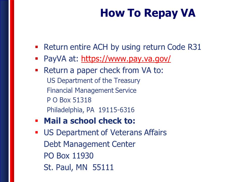 How To Repay VA Return entire ACH by using return Code R31