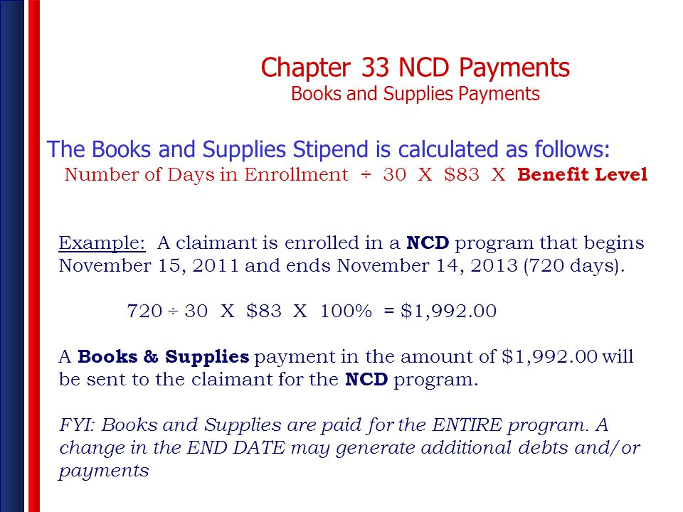 Chapter 33 NCD Payments Books and Supplies Payments