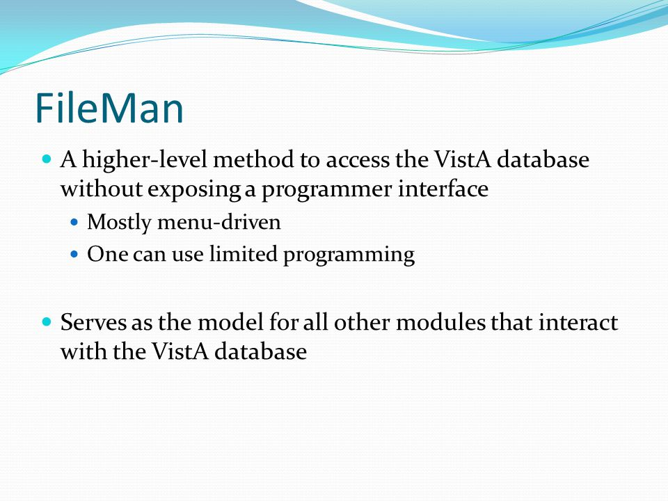 FileMan A higher-level method to access the VistA database without exposing a programmer interface.