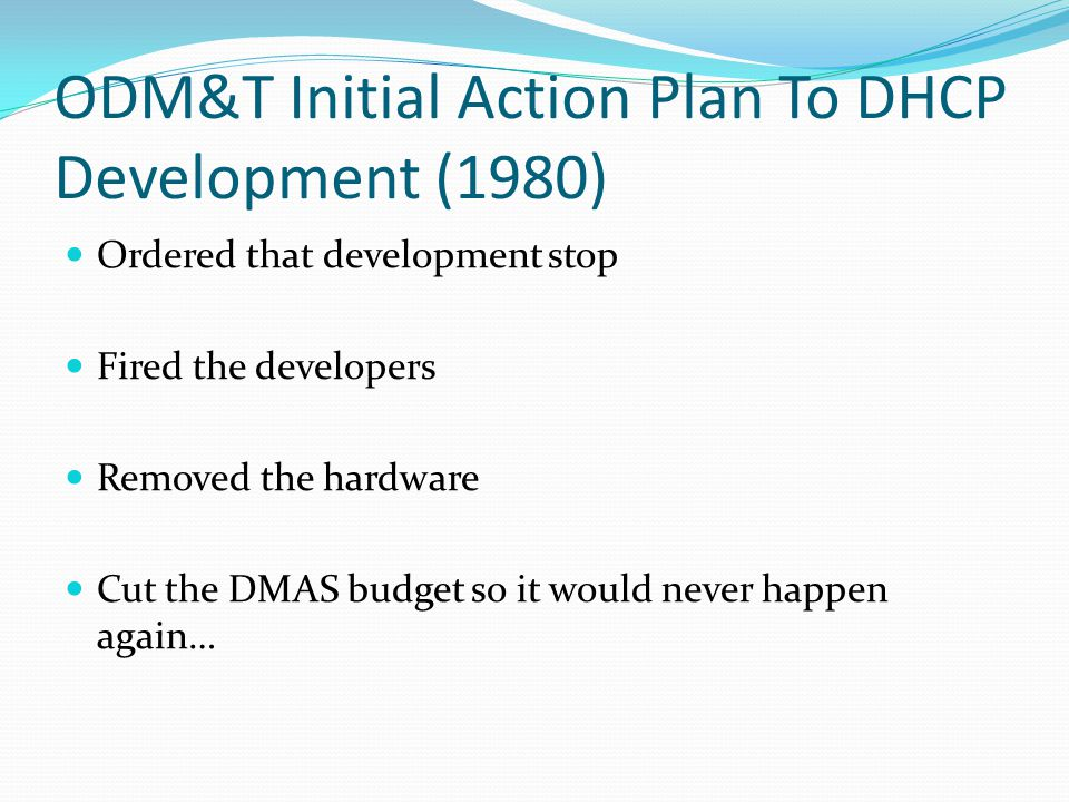 ODM&T Initial Action Plan To DHCP Development (1980)