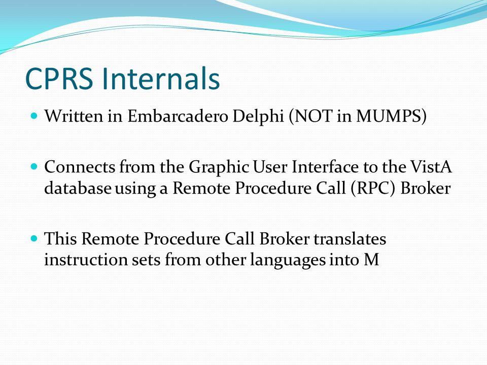 CPRS Internals Written in Embarcadero Delphi (NOT in MUMPS)